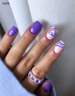 Fioletowe paznokcie hybrydowe