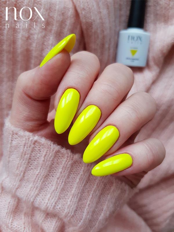 Neonowe żółte paznokcie hybrydowe
